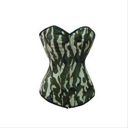 Wholesale Light Green Lingerie - Wholesale-Women body Shaper Camouflage Overbust Corset Sexy Lingerie Bustier Tops Underwear slimming belt