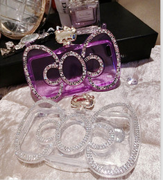 Wholesale Iphone Rhinestone Metal Case - Fashion Gift Cute Hello Kitty Diamond Perfume Bottle Soft Bowknot Case For iphone 6s 4.7''6plus 5.5''Handbag Style With Chain TPU Cover