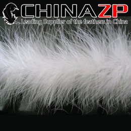 Wholesale White Feather Boas - CHINAZP Crafts Factory 2yards lot Top Quality Beautiful Fluffy White Wedding Decoration Marabou Feather Boa Scrafs