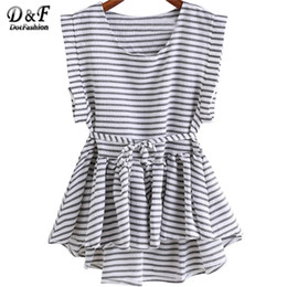 Wholesale Top Clothing Wholesaler China - Wholesale- Brand Clothing China Ladies Black and White Striped Tops Pleated Sleeveless Round Neck Dip Hem High Low Peplum Loose Blouse