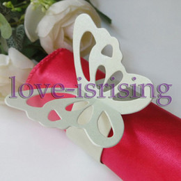 Wholesale bridal shower napkins - Hot Sale-100pcs Light Green Paper Butterfly Napkin Rings Wedding Bridal Shower Napkin holder-Sample Order