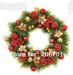 Wholesale Luxury Decorated Christmas Trees - Wholesale-Christmas Door Decoration 45cm Red Series Luxury Christmas Flower Christmas Wreath Decorated Pine Needles