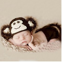 Wholesale Photography Props Monkey - Wholesale-Baby Girl Boy Crochet Knit Clothes Photo Photography Prop Outfit monkey style #4%501
