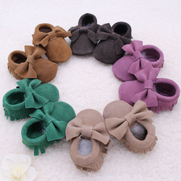 Wholesale Walking Shoes Infant Toddler Leather - 10Pair Retail New Baby suede Genuine Cow bow moccs wholesale infant moccasins soft leather baby booties toddler walking shoes 0-2T