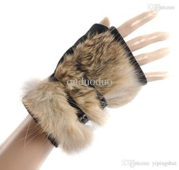 Wholesale Sexy Short Leather Gloves - 2 Pairs Fashion thermal quality 100% rabbit hair fur real pigskin leather hasp Short Sexy Ladies' semi-finger gloves B025