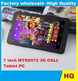 Wholesale Dual Core Tablet Hd Screen - 7 Inch 3G Phablet HD 1024x600 GSM WCDMA MTK6572 Dual Core Dual SIM Dual Cameras GPS Android 4.4 Phone Calling Tablet 1pcs CHeap