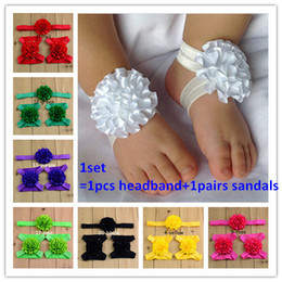 Wholesale 10sets Baby Stain Flowers Barefoot Sandals and Headband Set Toe Blooms Baby Shoose