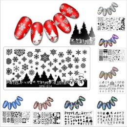 Wholesale Nail Art Halloween Stencils - Nail Art Stamping Plate Self Design Christmas Halloween Skull Flakes Spider Ghost Snowman 3d Manicure Stencil Template Diy Nails