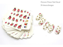 Wholesale Nail Art Water Decals Halloween - Nail Art 55Sheets Lot 55 Designs Flower Water Nail Sticker Nail Water Transfer Decals free shipping 4UNL212