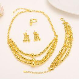 three ring bracelet 2018 - 24k Fine Yellow Gold Filled jewelry set Three rows Big Little Prayer Beads Lengthen neck chain Pendants Earrings Ring Bangle Sets