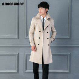 Wholesale Brown Men S Trench Coat - Wholesale- AIMENWANT Brand Coat Trench for mens New Design Fitted Beige Long Trenchs uk High Quality Customize Size Coats Male Overcoat