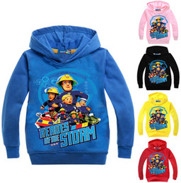 Wholesale Boys Fireman Sam - 3-10Years Fireman Sam Clothing Costumes Hooded Coat Baby Boy Jumper for Children Girl Clothing Print Cartoon Outwear N07626