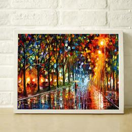 Palettenmesser malerei nacht online-Eine regnerische Nacht 100% handgemaltes starkes strukturiertes Spachtel, das moderne Hauptdekoration-Segeltuchwandbilder JL147 der Qualitäts malt