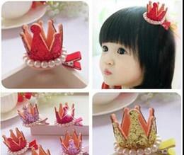 Wholesale Hair Clip Loop - Children's crown pearl Princess Hair Clip Hair Accessories Korean loop Girls Barrettes Kids Toddler Hair Bows Fashion Accessories gift