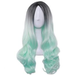 Canada Lady Long Pas Cher Cospaly Perruque Harajuku Lolita Perruque Noir Ombre Vert Vague De Corps Synthétique Mélange De Cheveux Couleur Perruques pour Femmes cheap mixed green wig Offre