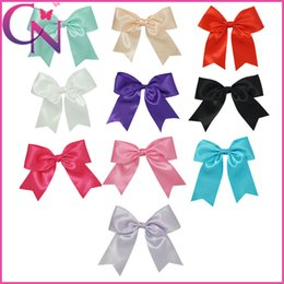 Wholesale Black Bow Hair Clip - 30 pcs lot 8.5 inch Wholesale 10 Clors Solid Blending Baby Girls Cheerleading Bows With Alligator Clip