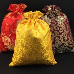 Wholesale Purple Silk Gift Bags - Folding Eco Fabric Travel Bra Storage Bag Sundries Sock Underwear Bags Luxury Drawstring Silk Brocade Lavender Spice Gift Packaging Pouch