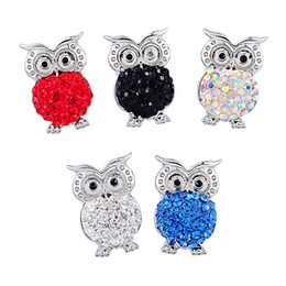 Wholesale Clay Owl - SALE! Fashion 50PCs Rhinestone Owl Shaped Snap Buttons Fit noosa Snap Button Bracelet Polymer Clay 23x16mm Ginger Snaps chunk