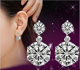 Wholesale Super Cute Korean - Korean fashion 925 sterling silver cute double rhinestone high quality super flash crystal women vintage stud earrings jewelry