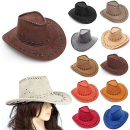 Wholesale Pink Cowgirl - Wholesale-New Design Cowboy Hats Suede Look Wild West Fancy Popular Dress Mens and Ladies Cowgirl Unisex Hats Free Shipping GHN784