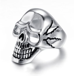 Wholesale Jewelry Designs Gothic - Fashion Hotsale Design Fantasitic Refined Gothic Punk Stainless Steel Men's Cool Gift Biker Skull Ring Jewelry High Quality US 8-12 #