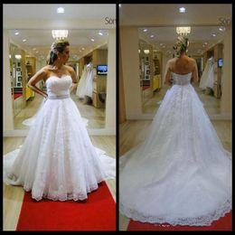 Wholesale Sweetheart Empire - Elegant Sweetheart Lace Appliques A Line Wedding Dresses Beading Sequins Chapel Train Back Bridal Gowns Plus Size Custom 2018