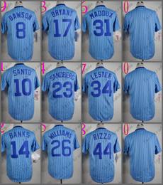 Wholesale Purple Strips - Chicago Jersey 44 Anthony Rizzo 34 Jon Lester 23 Ryne Sandberg 17 Kris Bryant 10 Ron Santo Blue Strips 1988 Baseball Jersey