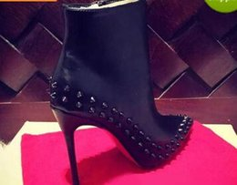 Wholesale Pointy Toe High Heels - 2017 Paris Womens Design Spike Studded High Heel Red Bottom Boots Pointy Genuine Leather Ankle Boots Luxury Winter Shoes 35-41