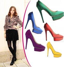 Wholesale Black Satin Peep Toe Pumps - 10 colors Celebrity platform high heels pumps heart bottom wedding pumps pointy satin ruffled bridal shoes women