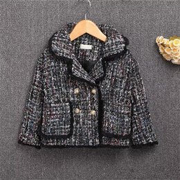 Wholesale Double Breasted Wool Coat Girls - Girls coat children plaid wool tassel lace princess trench coat kids plaid double breasted tops windbreaker overcoats clothes B11