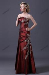 Vestido largo de tafetán de madre online-Borgoña madre de la novia vestidos bordados con cuentas vestidos de noche tafetán una línea de vestidos de madre de novio vestidos largos formales longitud del piso