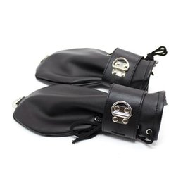 Wholesale Bdsm Slave Sale - Black Dog Slave Crawling Tune Bondage Gloves Hands Leather Bondage Restraint BDSM Fetish Set Black Leather Deluxe Padded Fist Mitts Hot Sale