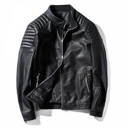 оптовые подставки для мотоциклов Скидка мотоцикл куртка мужская кожаная куртка мужской повседневная стенд воротник мода бомбардировщик куртка jaqueta де couro masculino верхняя одежда пальто