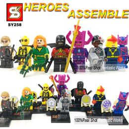 Wholesale Poison Ivy - Super Heroes Minifigures 6-8pcs set SY258 Figures Building Blocks Hawkeye Cyborg Poison Ivy NOVA Red Robin Galactus Deadpool
