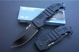 Wholesale Ak47 Free - COLD STEEL AK47 AK-47 Tactical Knife Aircraft Aluminum Handle Hunting Folding Pocket Knife D2 free shipping 1pcs
