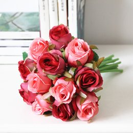 Wholesale Cheap Red Bridal Bouquets - Wholesale- Wholesale cheap fake artificial bridal wedding bouquet purple rose wedding flower party decoration red silk roses wedding flower
