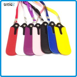 Wholesale Lanyard Leather Ego Bags - .eGo Leather Lanyard Neck Sling Rope with Soft PU Leather Pocket Neck Sling Bag for EGO Battery Atomizer Clearomizer 510 Electronic Cigarett