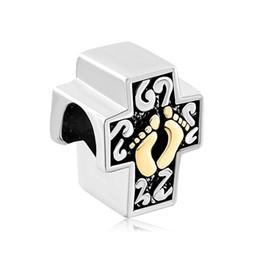Wholesale Gold Tone Bracelet Cross - Two Tones Gold Plated Cross Footprint foot step European Metal Bead Charms Bracelets Fit All Brands