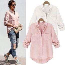 Wholesale White Linen Ladies Tops - Blusas Femininas 2015 Women Shirt Chiffon Tops Elegant Ladies Formal Office Blouse 5 Colors Work Wear Plus Size XXL women tops