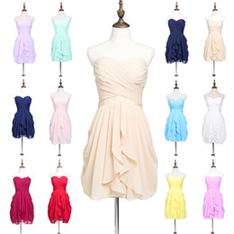 Wholesale Strapless Knee Line Dresses - Under$50 Cheap Short Chiffon Bridesmaid Dresses Strapless Knee Length Pleats 2016 Real Image Maid Of Honor For Summer Beach Garden Wedding