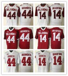 Camisolas de sam bradford on-line-Oklahoma Sooners dos homens 44 Brian Bosworth 14 Sam Bradford Colégio Camisas De Futebol 2016 New Costurado Jersey tamanho adulto frete grátis