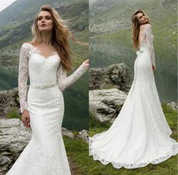 Stile della principessa della fascia del vestito da cerimonia nuziale online-Abito da sposa stile sirena per la sposa con scollatura a sirena stile sirena a maniche lunghe