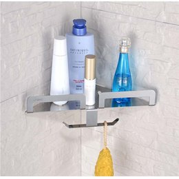 Wholesale Retail Clothing Hangers - Wholesale And Retail Free Shipping Bathroom Shelf Corner Storage Holder W  Bath Accessories Hooks Hangers Stainless Steel
