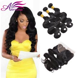 Wholesale Thick Brazilian Hair Bundles - 8A Unprocessed Human Hair Brazilian 13x4 Frontal With Bundles Sew In Soft and Thick Virgin Hair Extensions Human Hair Weave Bundles