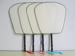 Wholesale Wholesale Wedding Fabric Fan - Plain White Palace Handle Silk Fans Tassel Chinese Ethnic Hand Held Fan Child Adult Practice DIY Fine Art Painting Programs