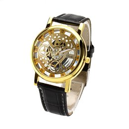 Wholesale Transparent Fabric Wholesale - 2015 Fashion woman hollow Imitation mechanical watches men gold Silver Graphic couple Leather luxury quartz Watch Gift Transparent watches