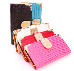 Wholesale S3 Leather Diamond - Luxury Bling Diamond Lizard PU Leather Wallet Flip Stand Case For iPhone 4 4S 5 5S 5C 6 4.7 Plus 5.5 Samsung Galaxy S3 S4 S5 Note3 4