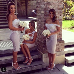 Wholesale Sweetheart Style Evening Dress - Sexy Mermaid Sheath Short Bridesmaid Dresses Mixed Styles Backless Knee Length Wedding Party Dresses 2017 Formal Evening Party Gowns