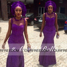 Wholesale Ankara Dresses - 2016 Nigerian Style Purple Lace Mermaid Evening Dress Robe de soiree Long African Formal Prom gowns Dresses Ankara Party Gowns