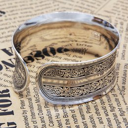 Brazaletes tibetanos online-Venta caliente hermosa nueva tibetana tibetana plata plateada Totem Bangle Cuff Bracelet